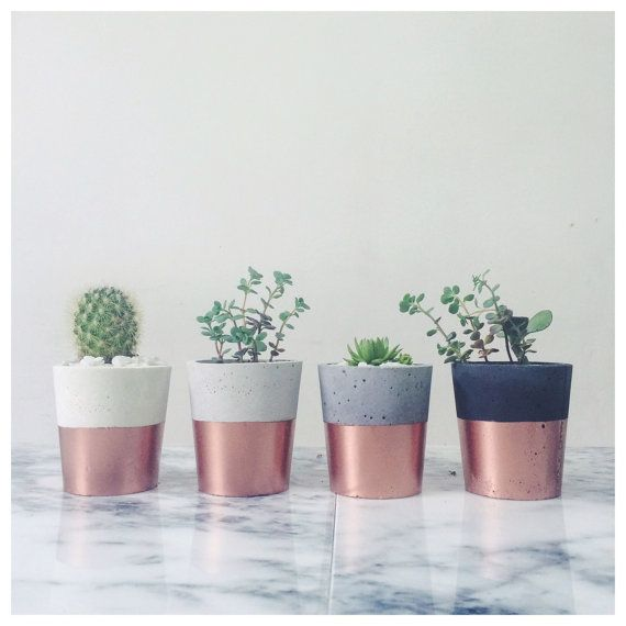 Copper dipped concrete pots SORT cement london by sortcement