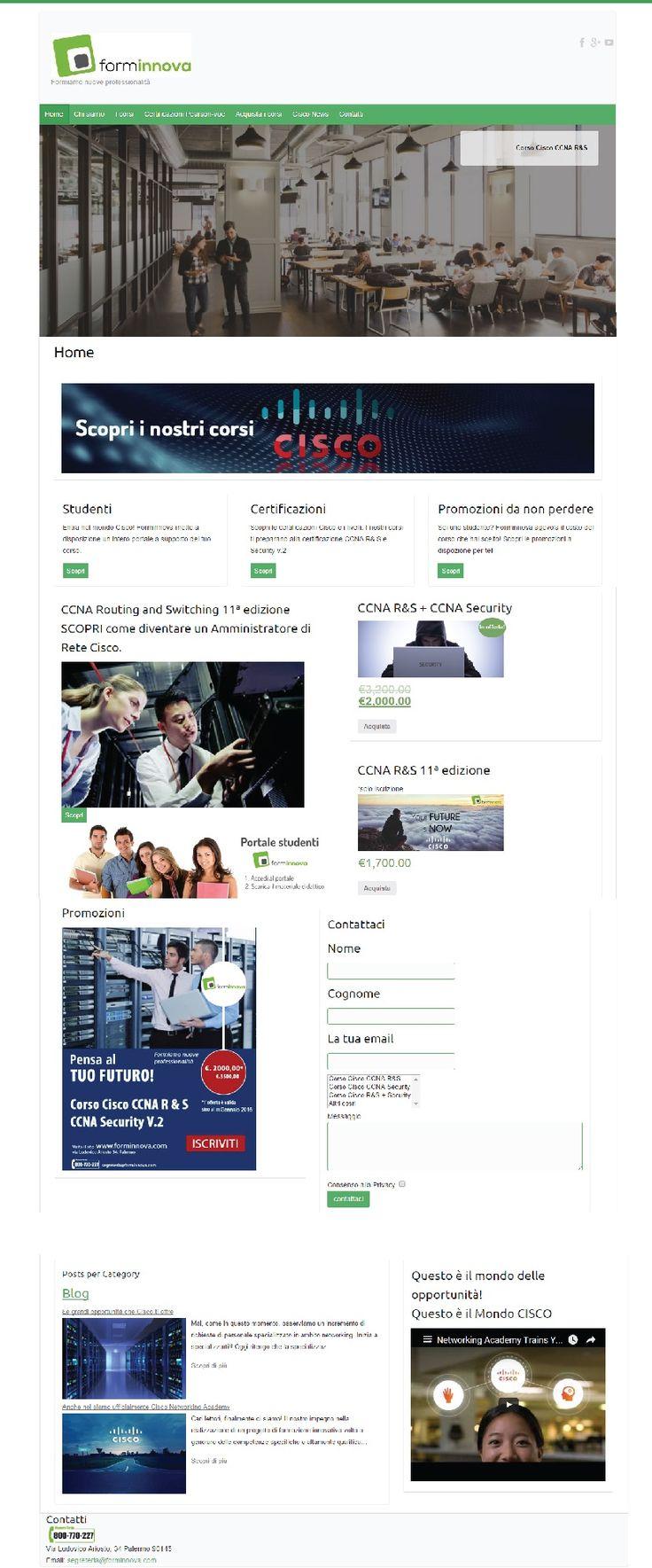 Sito #web realizzato su #Wordpress per Associazione Webinnova, corsi di formazione Cisco e amministratore di rete