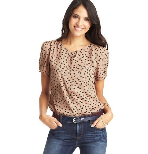 Spot Print Covered Placket Short Sleeve Blouse | Loft, size S or M