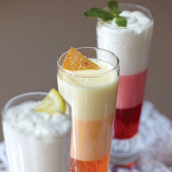 Layered dessertof Bavarian cream,flavored gelatinand candied fruit