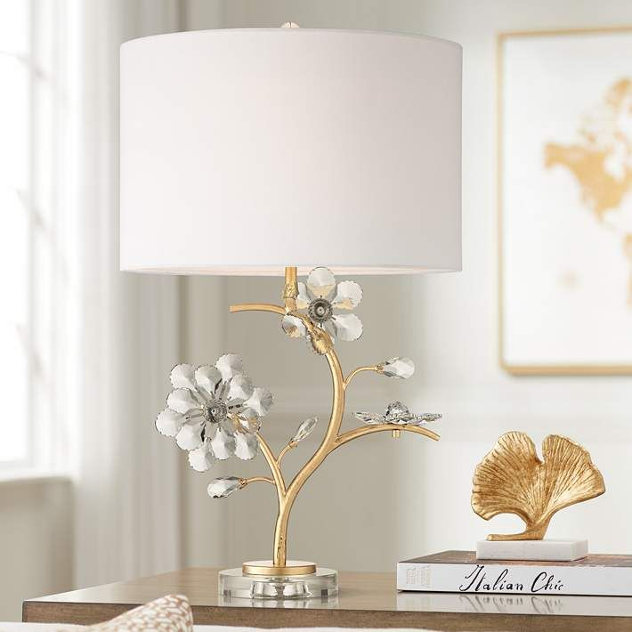 Possini Euro Lani Gold Floral Crystal Table Lamp 63v67 Lamps Plus Crystal Table Lamps Contemporary Table Lamps Lamp