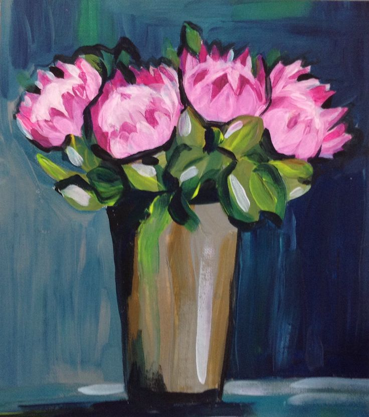 Proteas in exaggerated pink. Acrylic, palette knife.