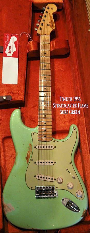 1956 Fender Stratocaster Surf Green Electric Guitar (color corrected)