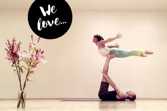 Acro Yoga shapes of love flow.