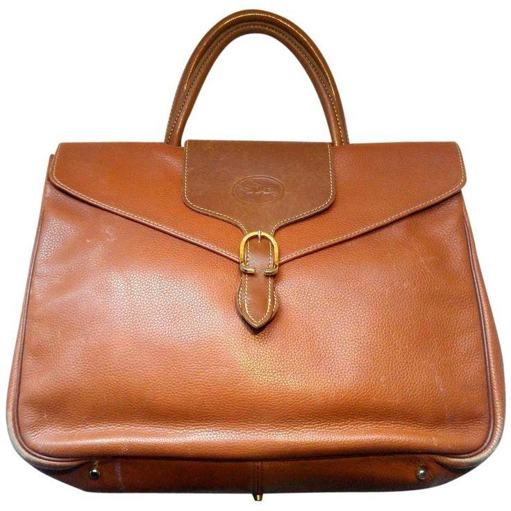 Longchamp-vintage-Paris-Chestnut-Brown-Pebbled-Leather-Satchel-Flap-Briefcase-Medium-free-ship 111