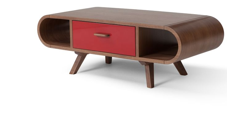 Fonteyn, table basse, rouge et noyer