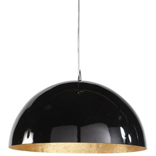 Lampadario nero e dorato in plastica D 49 cm AMBRE