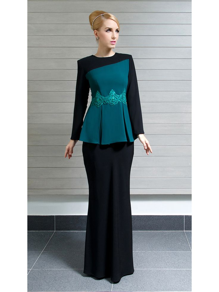 Modern Kurung with Slanted Color Blocks