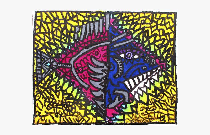 Robert COMBAS Le poisson à crocs Acrylique sur toile   73x92 cm