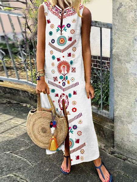 Women White Plus Size Floral Casual Boho Maxi Dress | PLUS SIZE 40+ ...