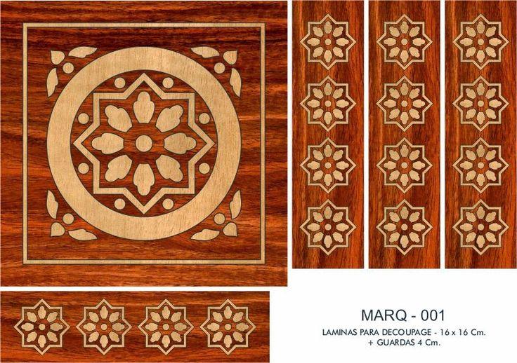 LAMINAS PARA DECOUPAGE DECOPAPER: LÁMINAS FALSA MARQUETERÍA 16x16 CM. + GUARDAS (1)