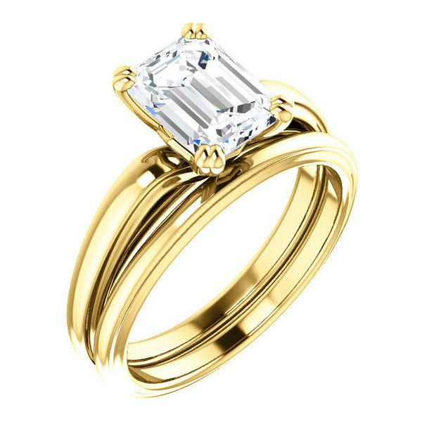 1.5 Ct Emerald Diamond Engagement Ring 14k Yellow Gold ($4,616) ❤ liked on Polyvore featuring jewelry, rings, 14k ring, gold emerald ring, 14 karat gold ring, 14k engagement ring and diamond engagement rings