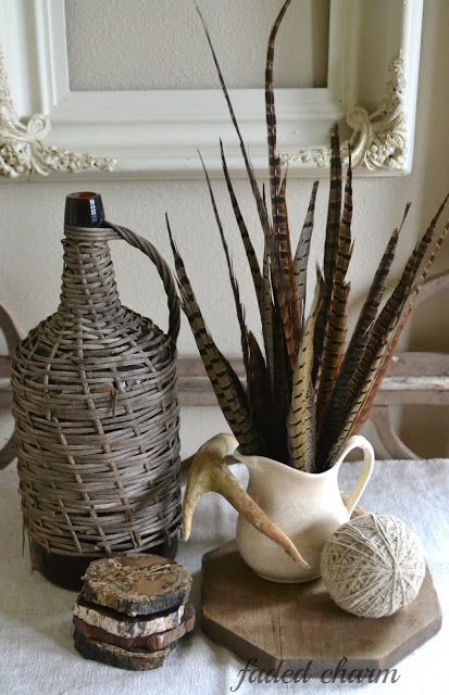 vignette or centerpiece with fossils, wood, feathers, Faded Charm: ~Inspired by Nature~
