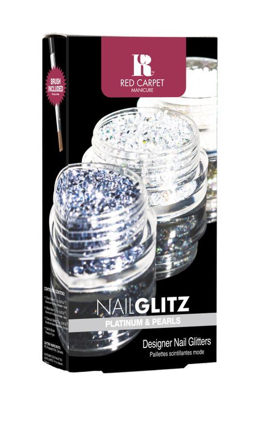 Το Nail Glitz Platinum and Pearls περιέχει 1 βαζάκι λευκό glitter, 1 βαζάκι γκρι-μπλε glitter, 1 βαζάκι ασημί glitter και ένα nail art πινέλο. Τιμή 11,90€