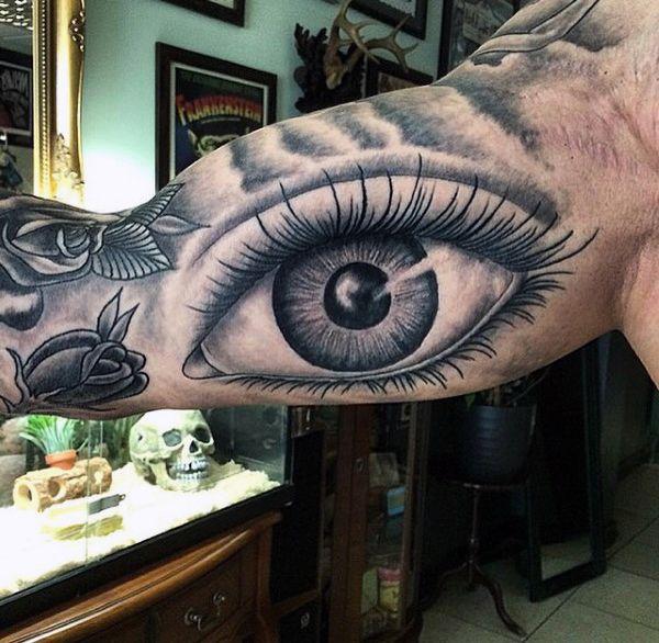 Eye And Rose Tattoo Male Inner Biceps
