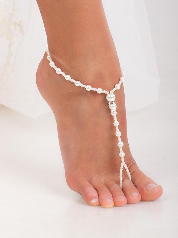 24bf5d5242e112 White Beaded barefoot sandals Feet jewelry Beach wedding
