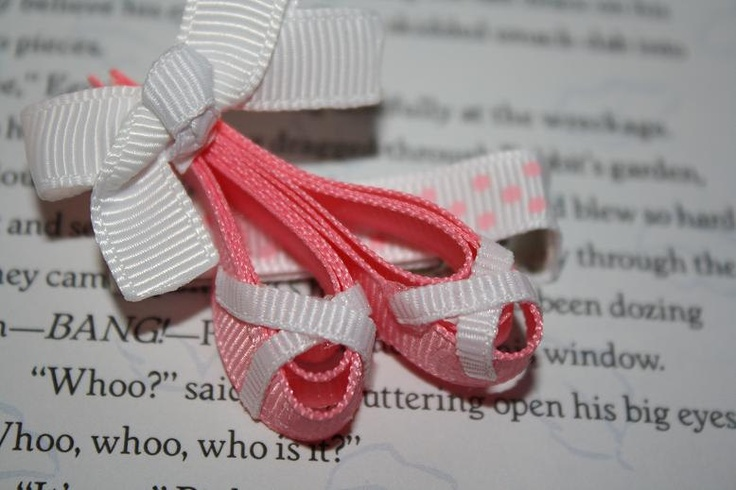 Ballerina Slipper Ribbon Sculpture Hair Bow.