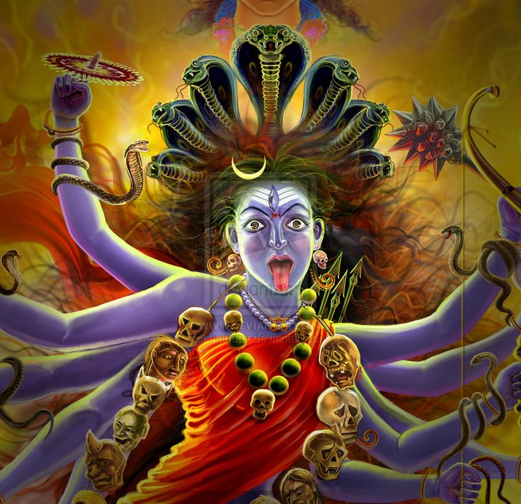 hindu kali Kali - the hindu god of death and destruction, also renewal and motherhood she  is sometimes depicted with ten arms, holding a sword, and with clothes made.