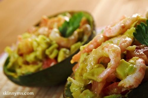Luscious Grilled Shrimp Salad in an Avocado Shell with a Spiced Yogurt Dollop - Enjoy this shrimp recipe for a healthy lunch...it promises to satisfy all of your creamy cravings.