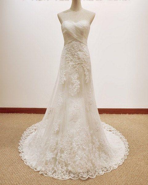 Custom make Vintage A LINE Lace Wedding Dress Bridal by kissbridal, $229.00