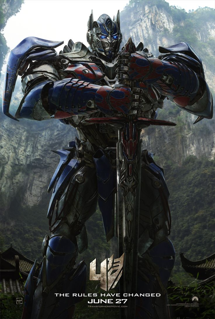 Transformers 4 Age of Extinction official poster featuring Optimus Prime