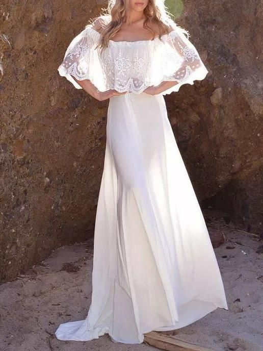 Lacy off-the-shoulder maxi dress with slit