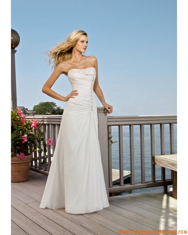 robe de mariée avec traîne courte lacets blanche