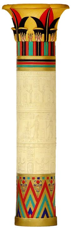Egyptian Column...make out of poster board (paint with steeped tea) and gold cereal bowl as top, gold dessert plate as bottom and decorate