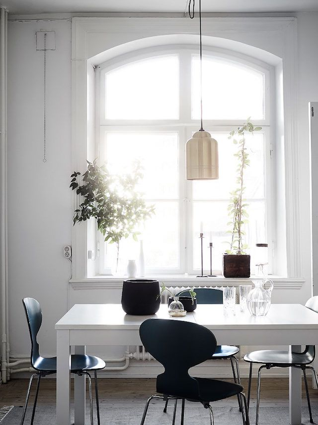 Ant chairs in a light filled Swedish kitchen.