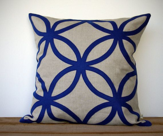 20in Cobalt Geometric Pillow Cover In Natural Linen By Jillianrenedecor Designer Home Decor Indigo Monaco Blue Dazzling Blue