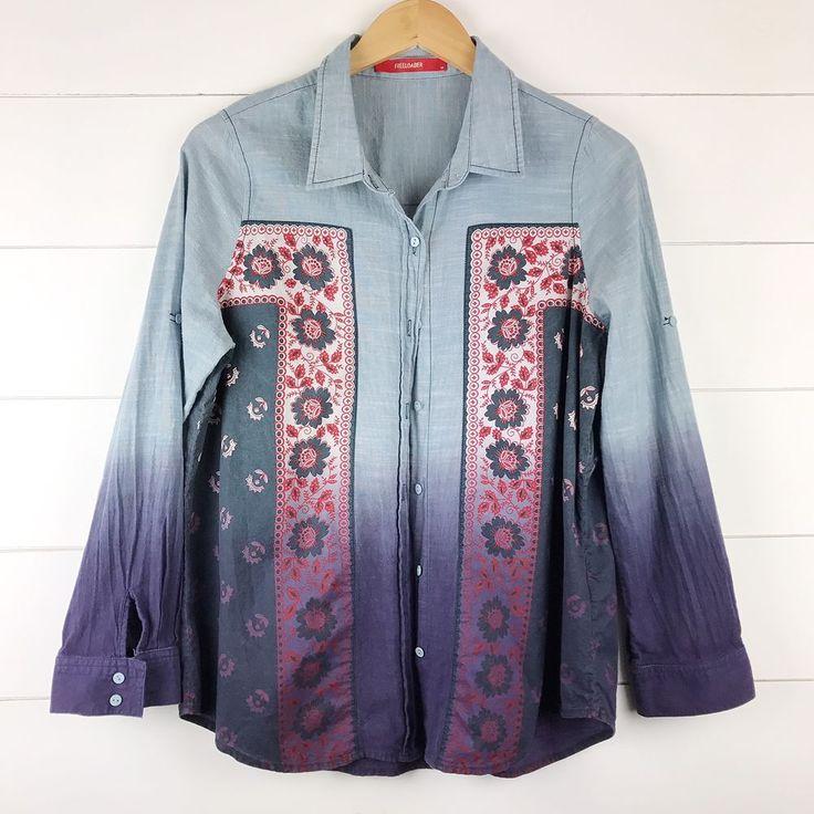 Freeloader boho denim shirt red white navy bandana pattern hip women's M ombre  | eBay