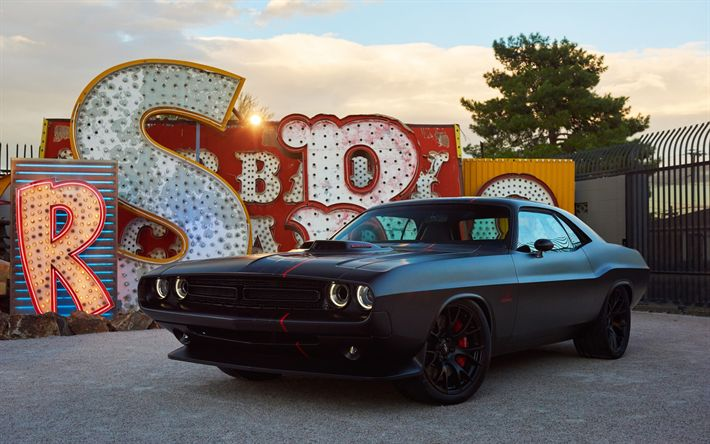 Descargar fondos de pantalla Dodge Challenger, coches Deportivos, Americano de coches deportivos, llantas en negro, Negro Challenger, Dodge