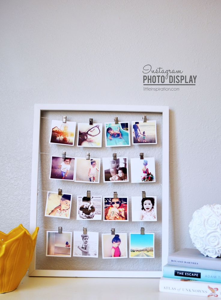 Instagram Project: How To Display Your Instagram Pictures I think this is a great idea for displaying any pictures! Just need an empty frame , some string and clothes pins.