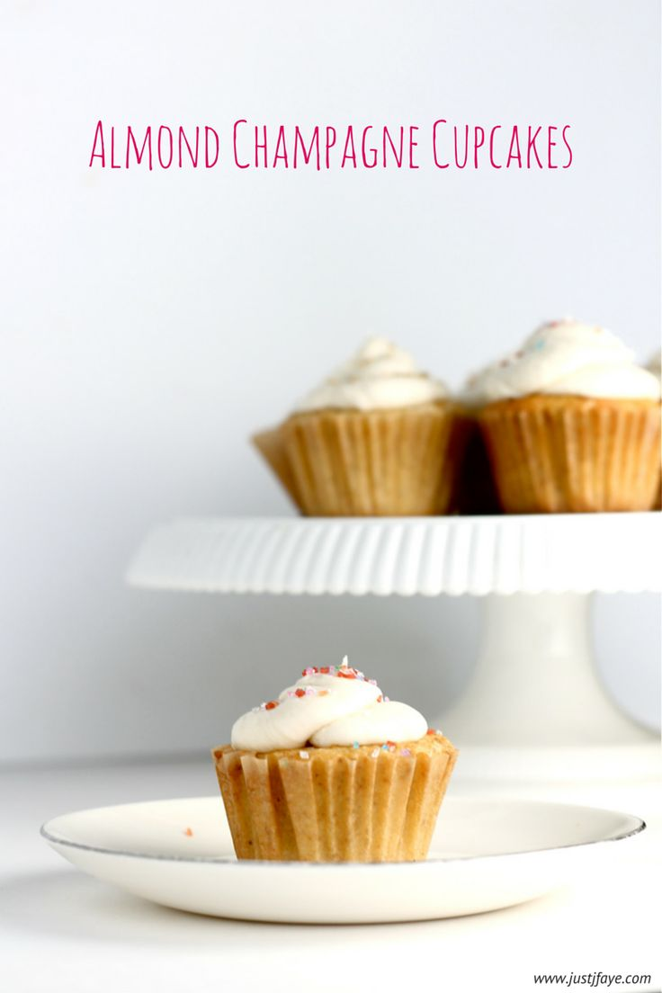 Almond Champagne Cupcakes - perfect for a celebration of any sort! www.justjfaye.com #recipe