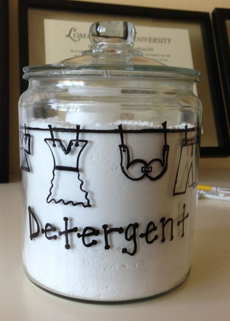 Doodling on glass to create laundry detergent container with oil based Sharpie