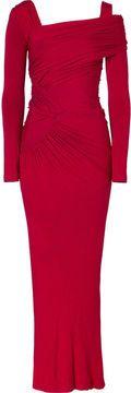 Donna Karan Scarlet Red Draped Jersey Cold-Shoulder Gown on shopstyle.com