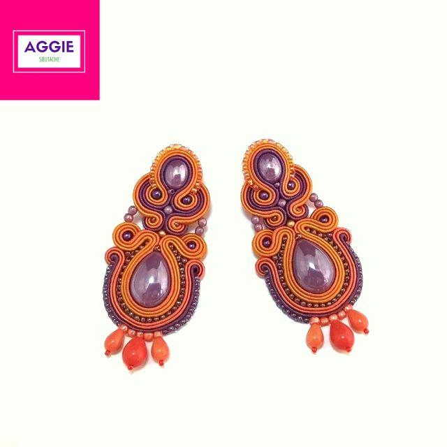 Pomarańczowo-fioletowe długie kolczyki sutasz. Orange violet long soutache earrings