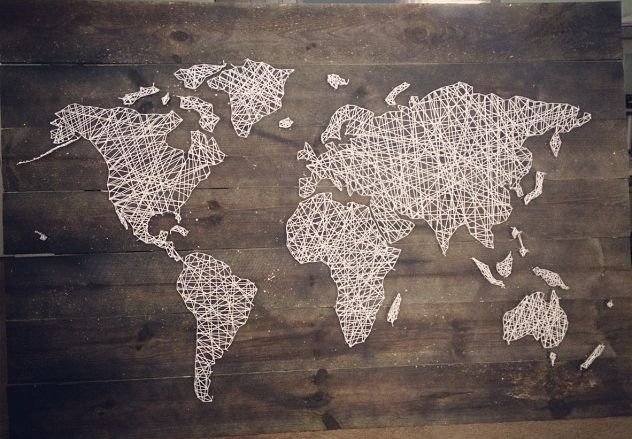 our world map string art. Black Bedroom Furniture Sets. Home Design Ideas