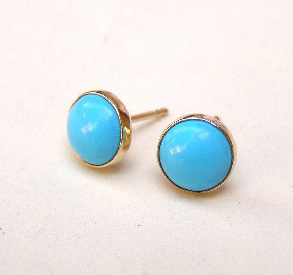Turquoise Earrings Studs in Recycled 14k yellow Gold by OritNaar