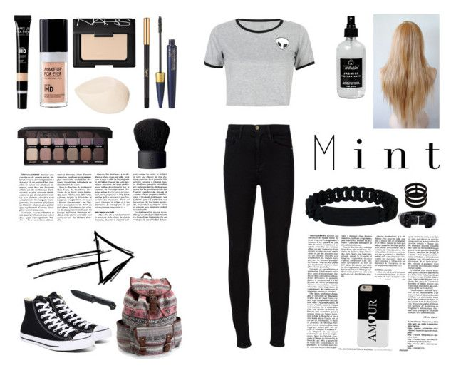 """Sin título #29"" by daaniellestarling on Polyvore featuring moda, WithChic, Frame Denim, Converse, MAKE UP FOR EVER, NARS Cosmetics, Christian Dior, Yves Saint Laurent, Laura Mercier y Aéropostale"