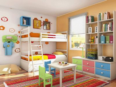 Kids Furniture, Neutral and Bright Color Combination for Kids Room