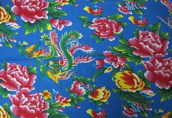 tissus chinois pivoine traditionnel Bleu lot de 5m