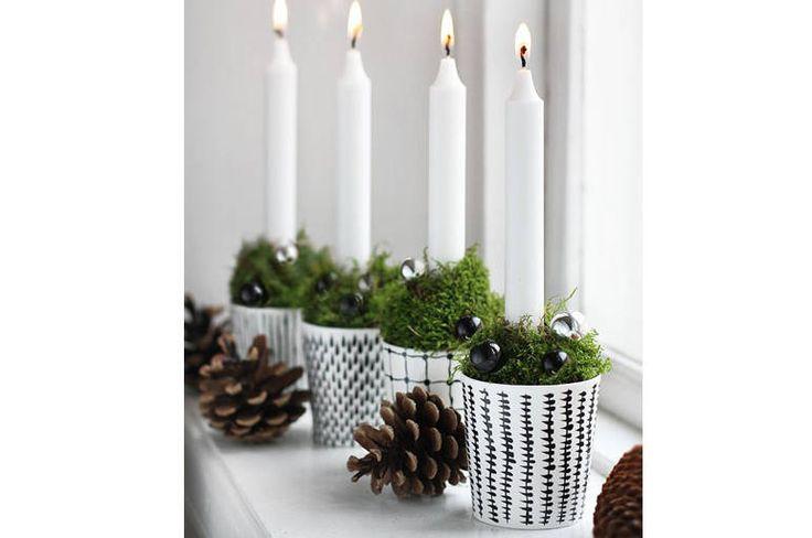 Christmas decor // Kalėdinės žvakidės su samanomis. Domoplius.lt