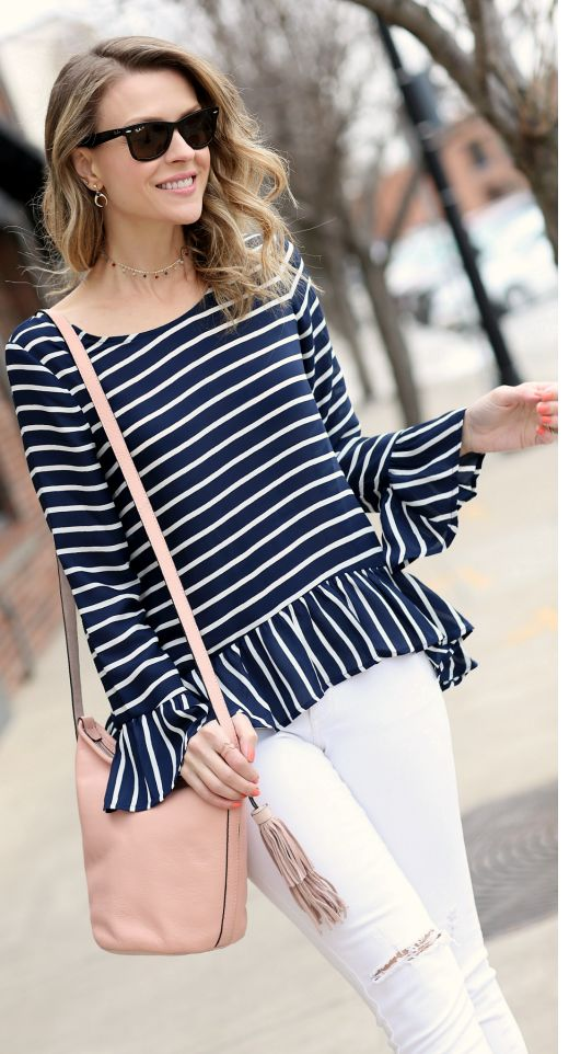 Peplum stripes top