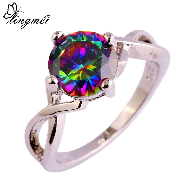 lingmei Free Shipping Wholesale Round Mysterious Rainbow CZ  Silver Ring Size 6 7 8 9 10 Fashion Popular Unisex Jewelry