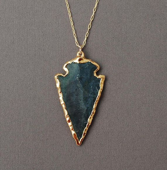 Dark Green Jasper Arrowhead Gold Necklace