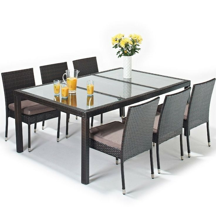 luxe rectangle dining 6 seater rattan garden furniture set port royal