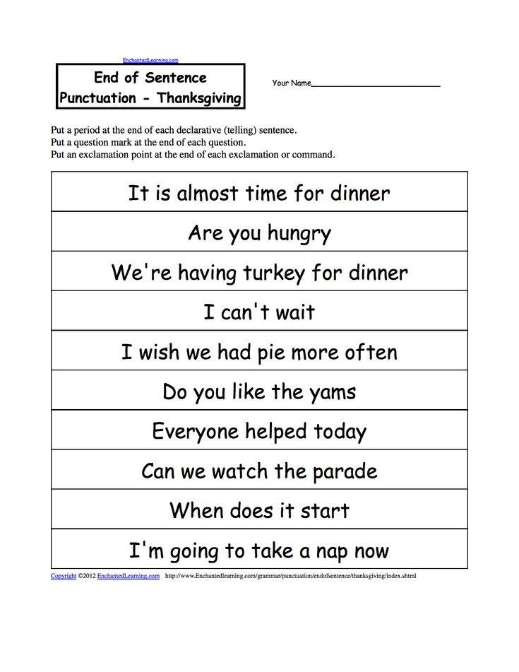 end of sentence punctuation thanksgiving ela punctuation worksheets kindergarten worksheets. Black Bedroom Furniture Sets. Home Design Ideas