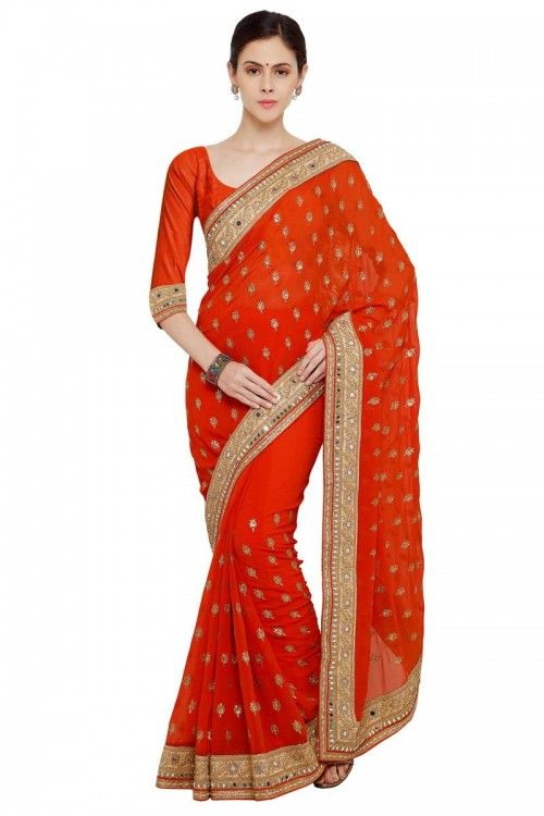 Orange Georgette Saree With Georgette Blouse  http://www.andaazfashion.co.uk/womens/sarees/orange