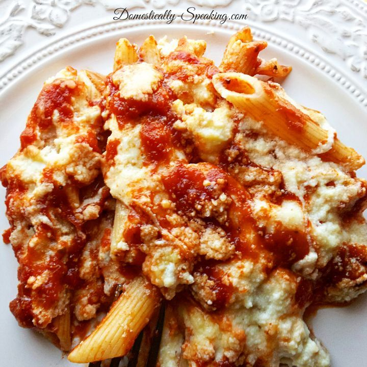 Delicious Baked Penne Rigate Recipe // Really good...mix all the sauce in next time instead of adding half on top